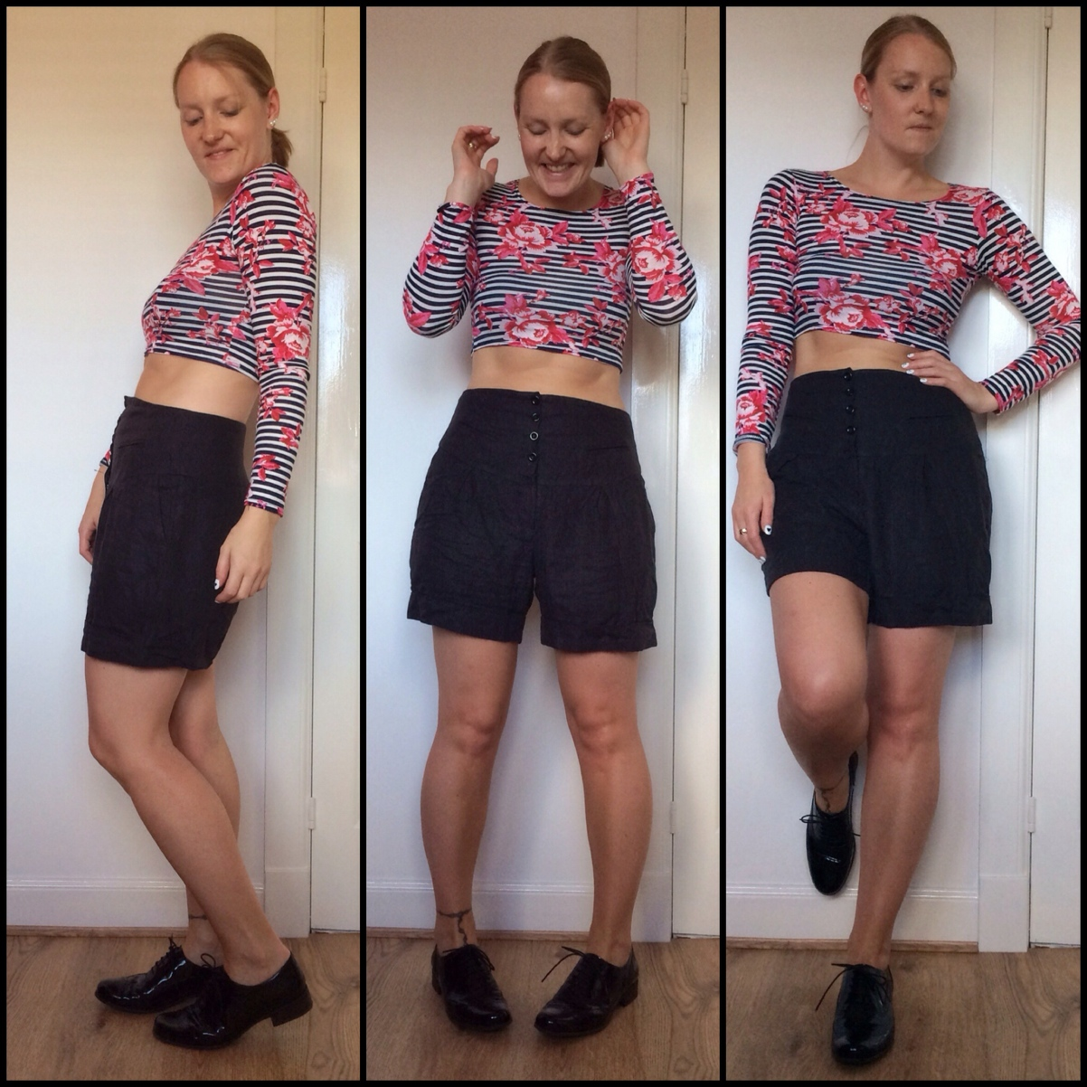 Crop-top-stripes-floral-high-waisted-shorts-brogues