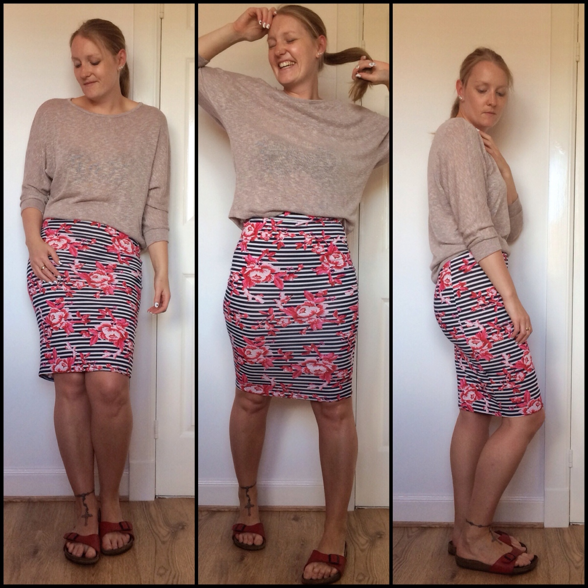Floral-monochrome-pencil-skirt-sliders