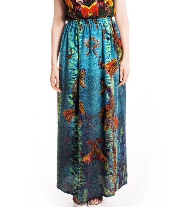 Naromode-Laura-maxi-skirt-green-silk