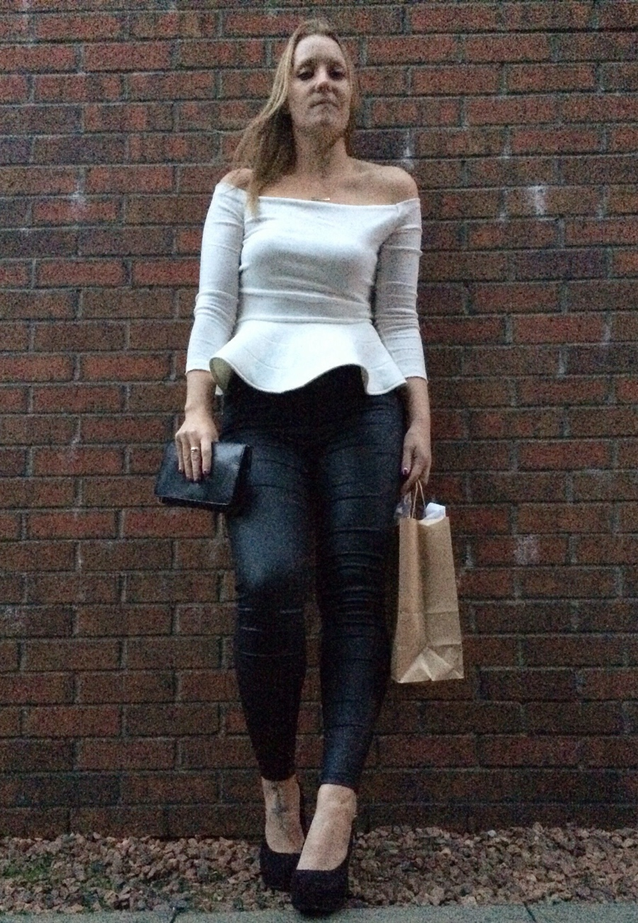 White-off-shoulder-peplum-leather-look