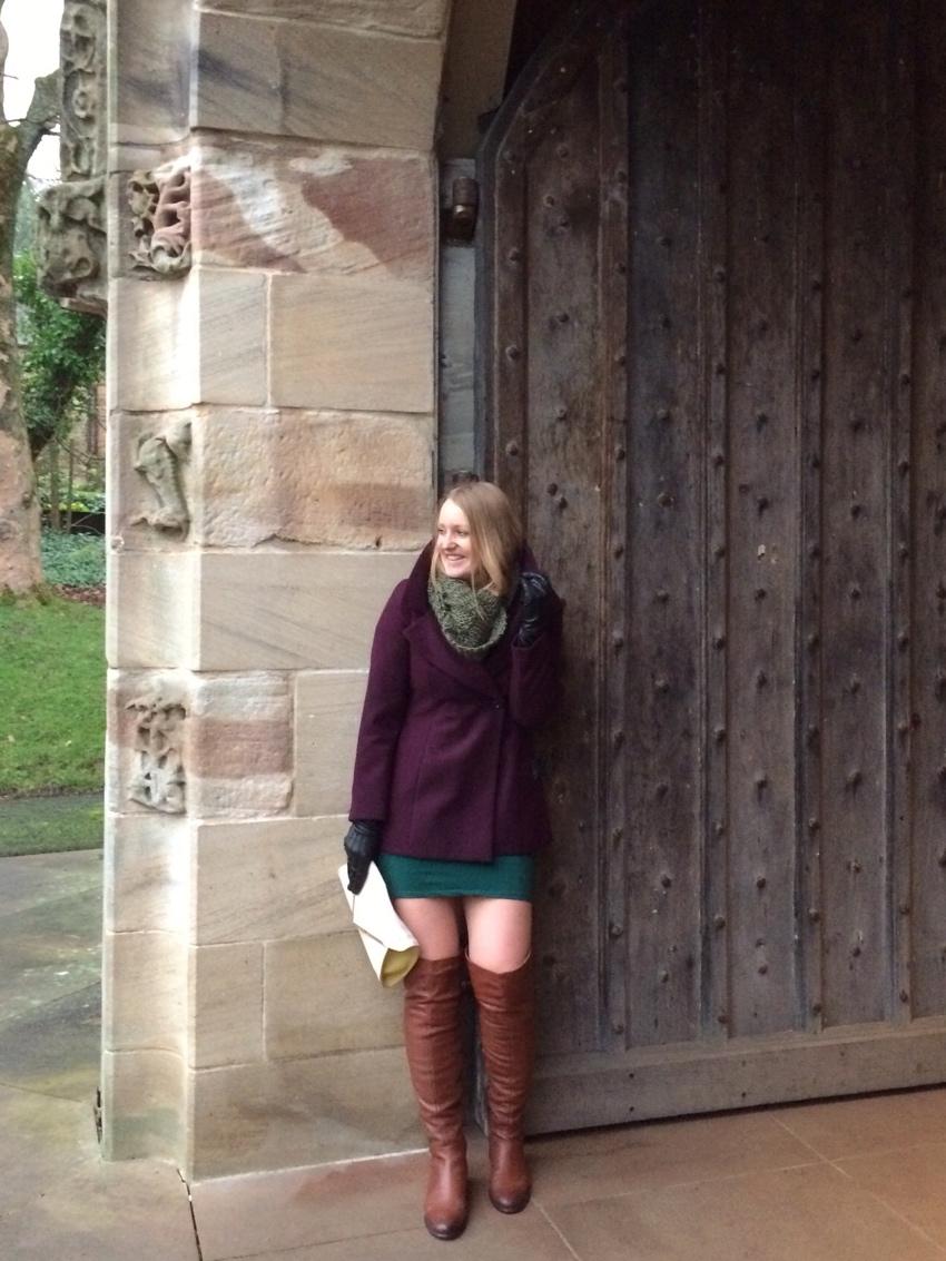 Aubergine-Debenhams-coat-OTK-boots-snood-Burrell-Glasgow