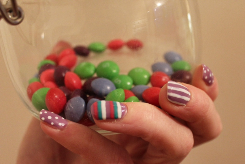Candy-coloured-striped-dotted-nail-art