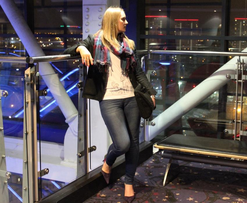 Jeans-heels-blazer-tartan-scarf