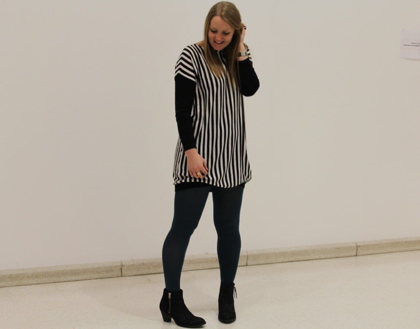 Monochrome-striped-dress-green-tights-ankle-boots