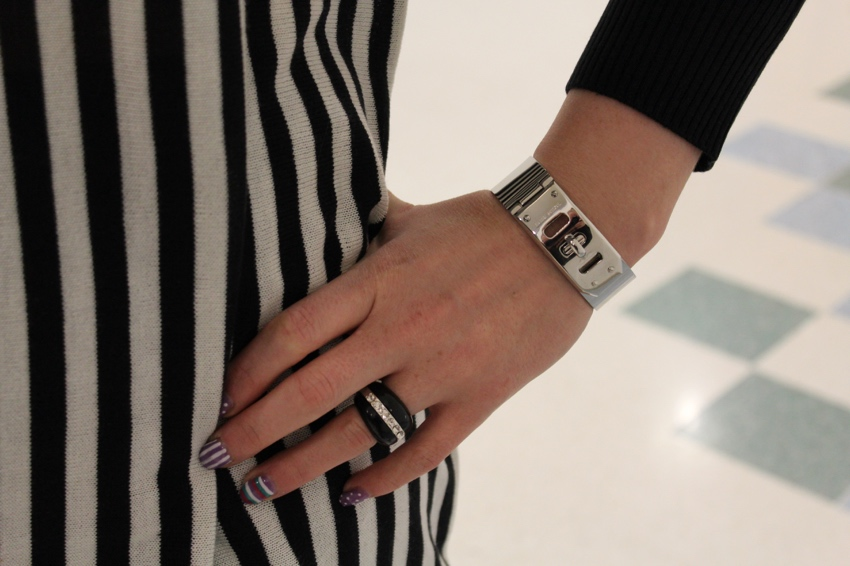 Silver-lock-bracelet-striped-dress