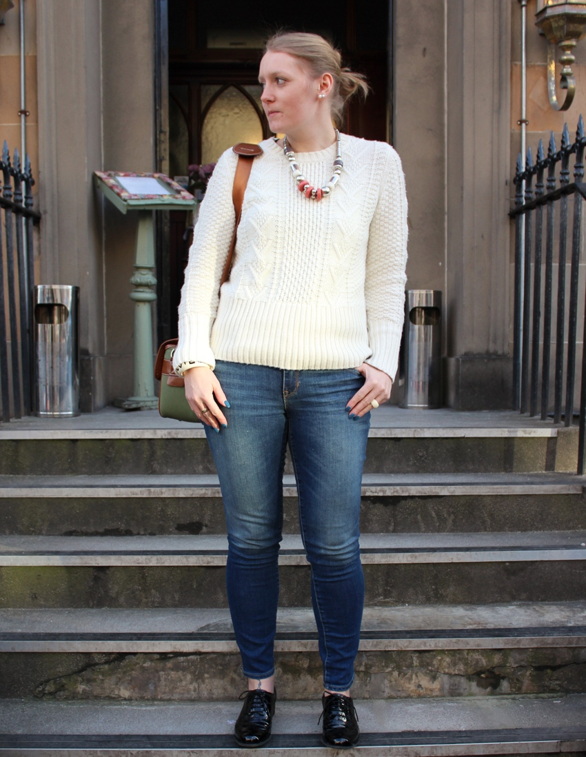 Gap-always-skinny-cream-knit-street-style-Glasgow