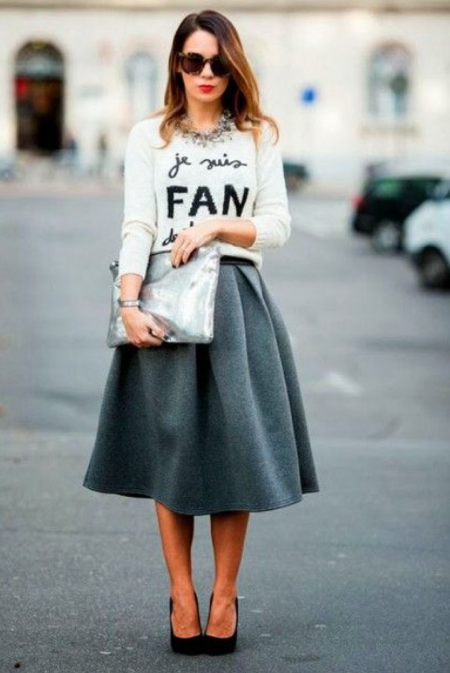Pinterest-full-skirt-street-style-slogan-jumper