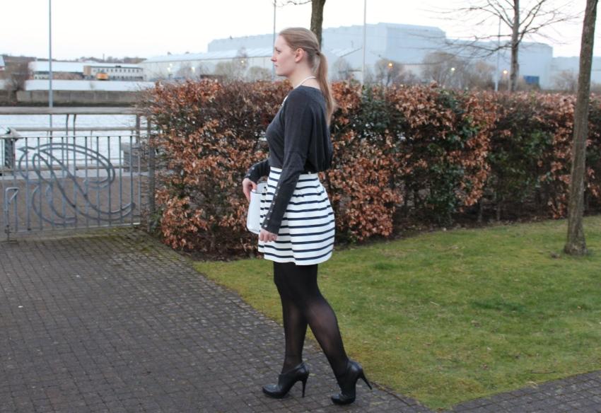 Stripe-full-mini-skirt-ankle-boots-street-style-Glasgow