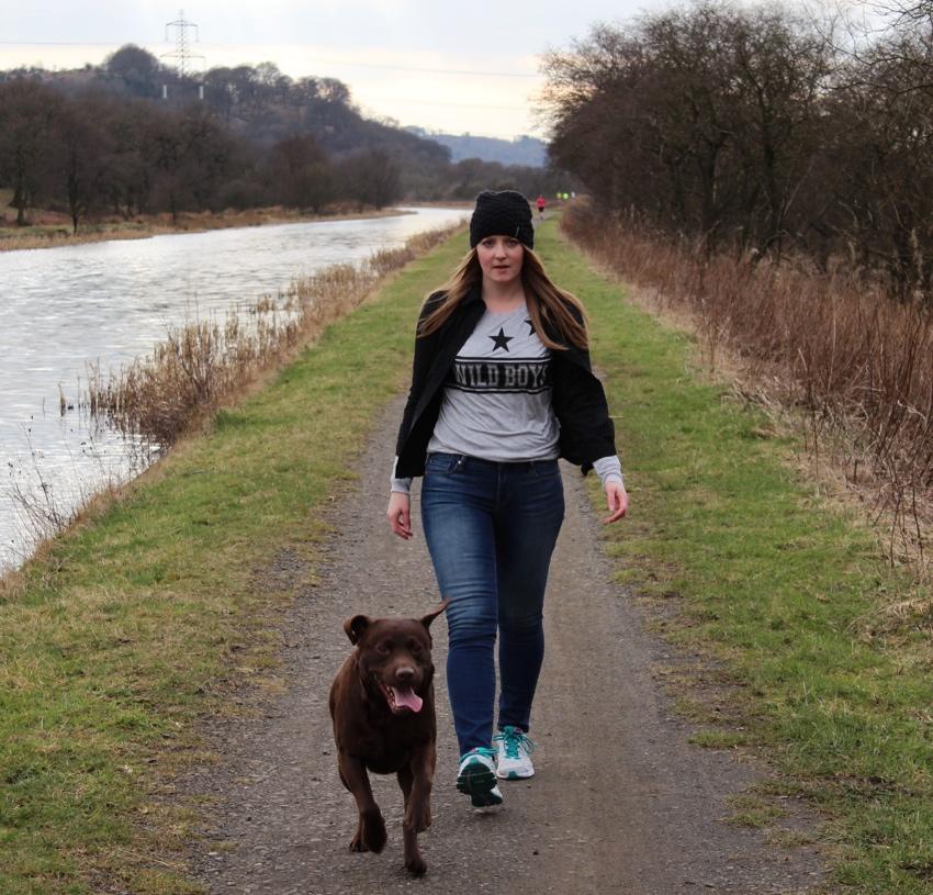 Wild-boys-tee-skinny-jeans-dog-walk