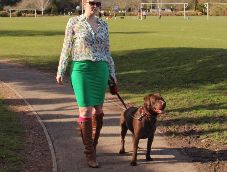 Green-pencil-skirt-sheer-patterned-shirt-street-style
