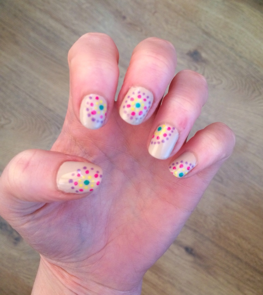 Nude-bright-dot-patterned-nail-art