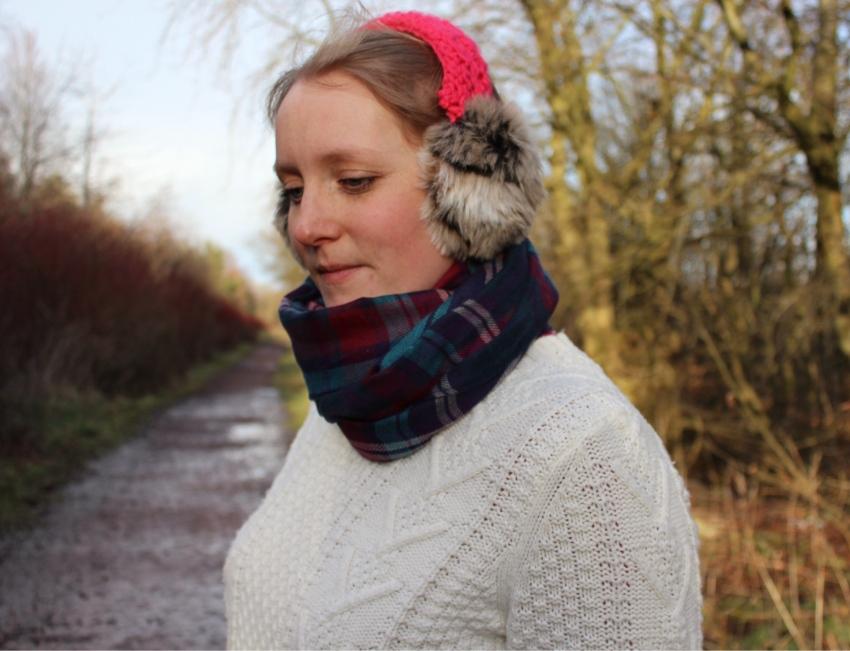 Tartan-scarf-pink-furry-ear-muffs