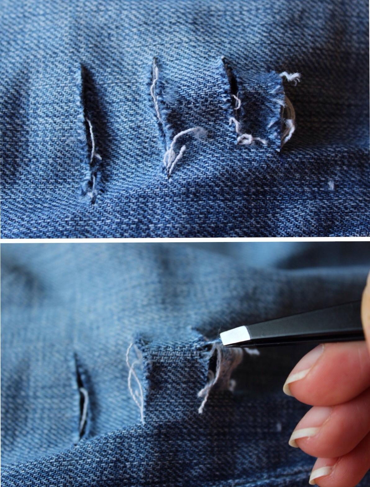 Как сделать из джинс рваные джинсы фото