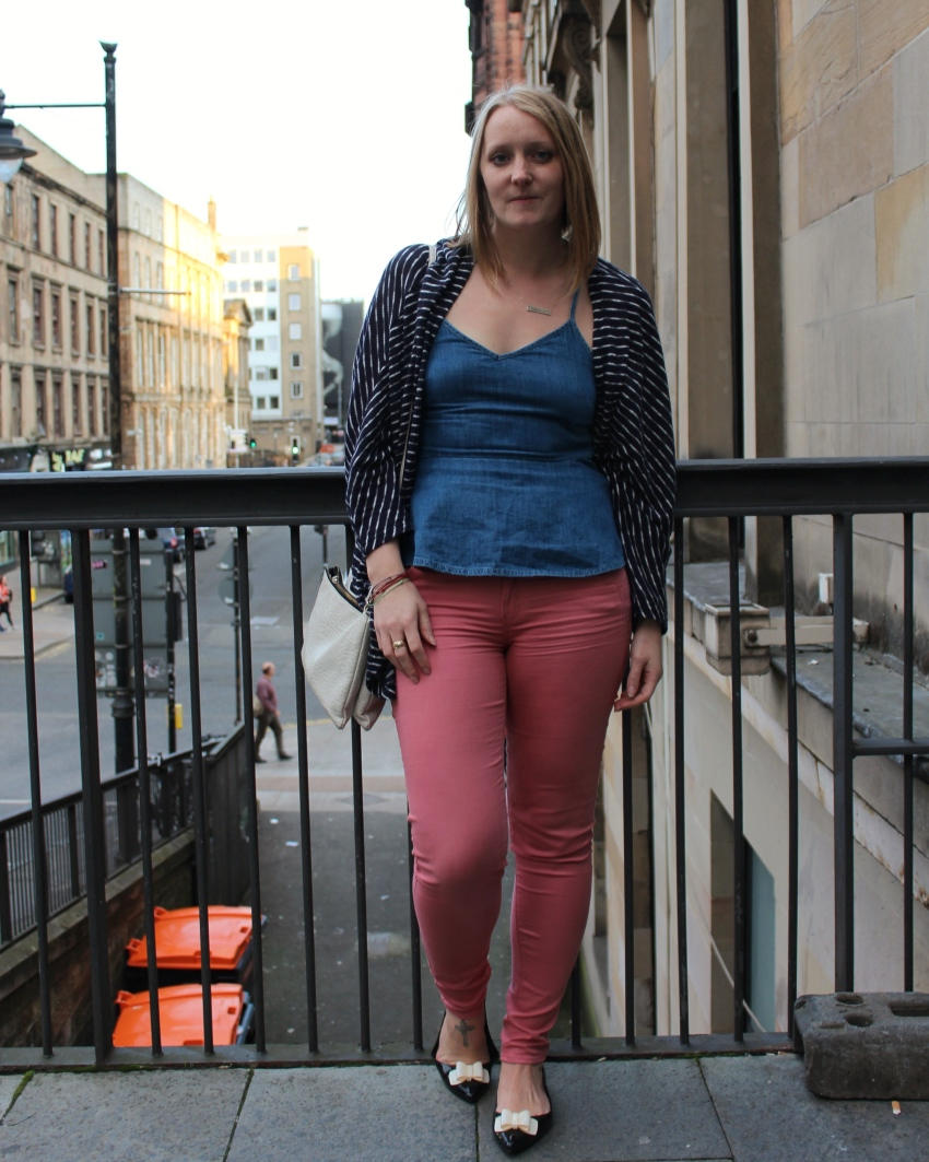 Double-denim-vest-coloured-jeans-Glasgow