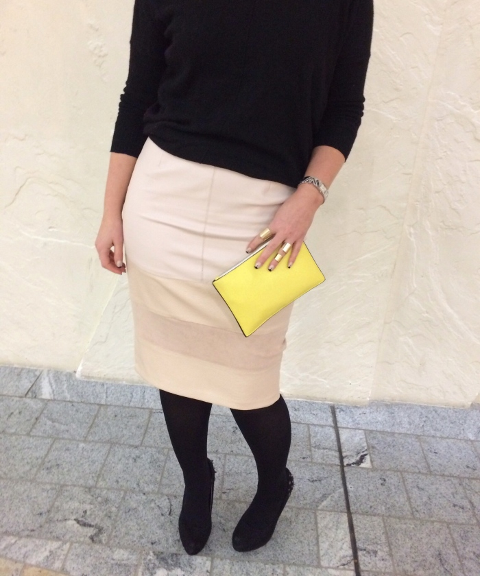 Nude-leather-pencil-skirt-fall-outfit
