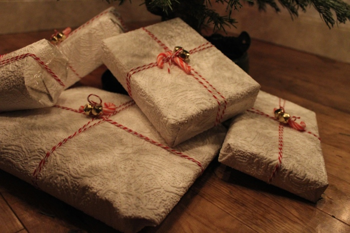 Textured-paper-jingle-bells-candy-cane-wrapping