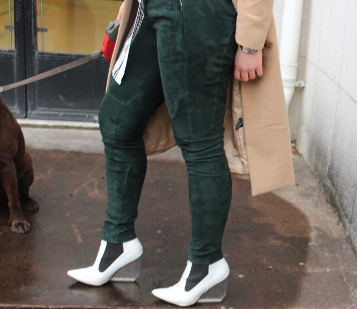 Balmain-H&M-green-suede-trousers-outfit