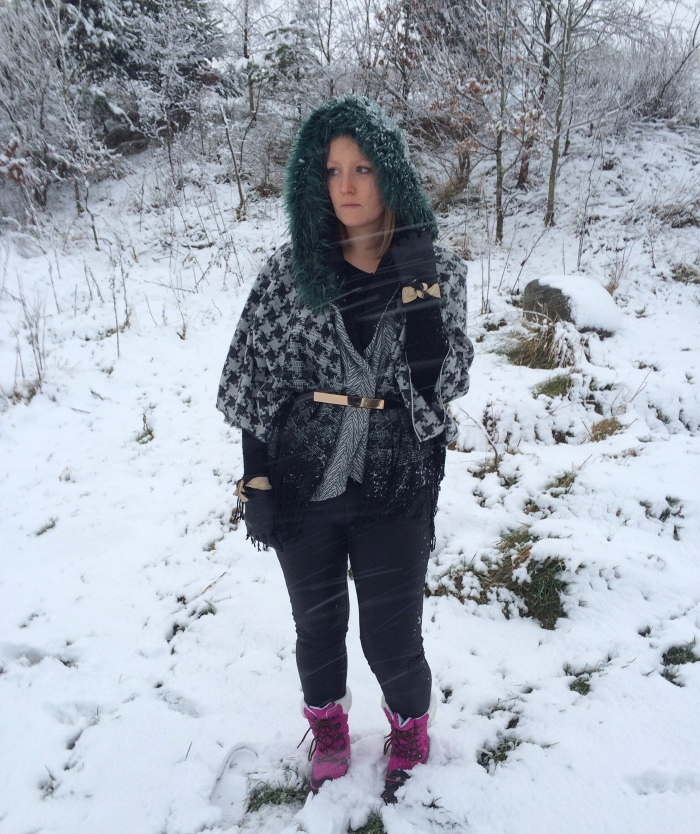 Layered-hood-cape-snow-outfit