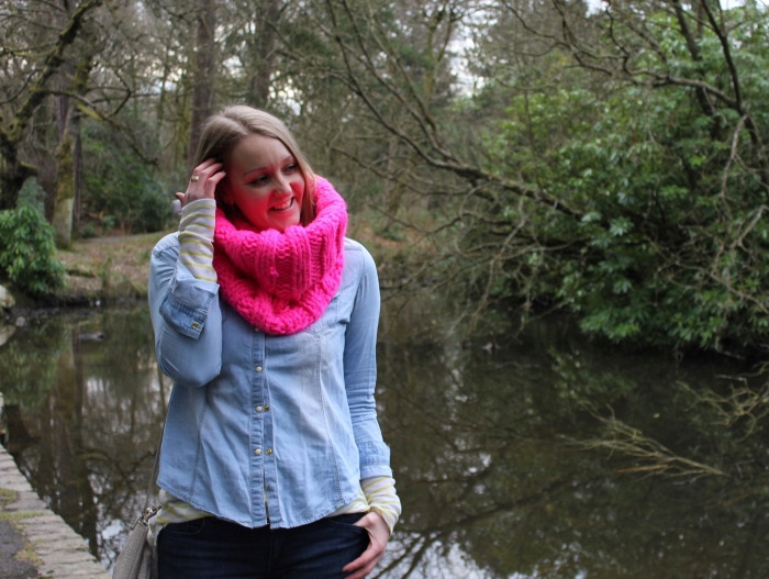 Oversized-pink-scarf-double-denim-street-style