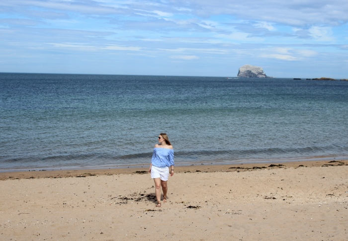 Beach-style-off-the-shoulder-shirt-denim-shorts-Scottish-beach-tour-north-Berwick