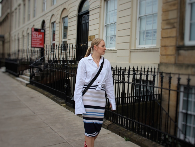 Trumpet-sleeve-shirt-striped-midi-skirt-street-style-Glasgow