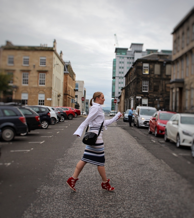 Living-in-a-Boxx-trumpet-sleeve-shirt-striped-midi-skirt-street-style-Glasgow