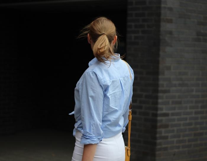 living-in-a-boxx-pencil-skirt-blue-white-striped-shirt