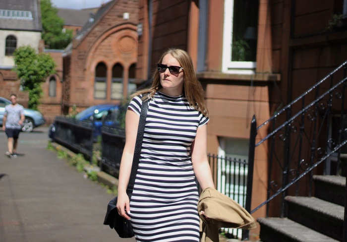 Living-in-a-boxx-monochrome-striped-dress-ankle-boots