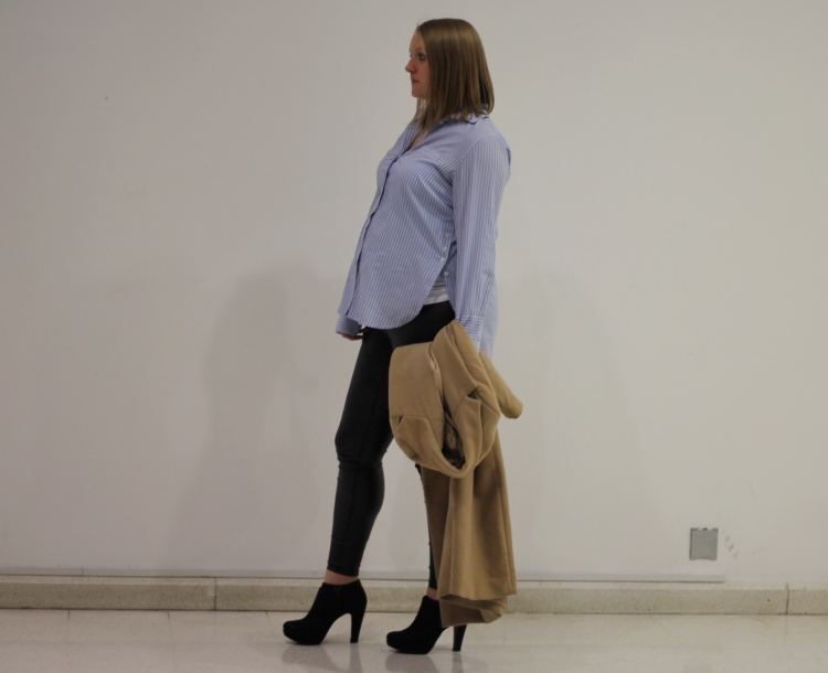 Oversized Shirt Faux Leather Jeans